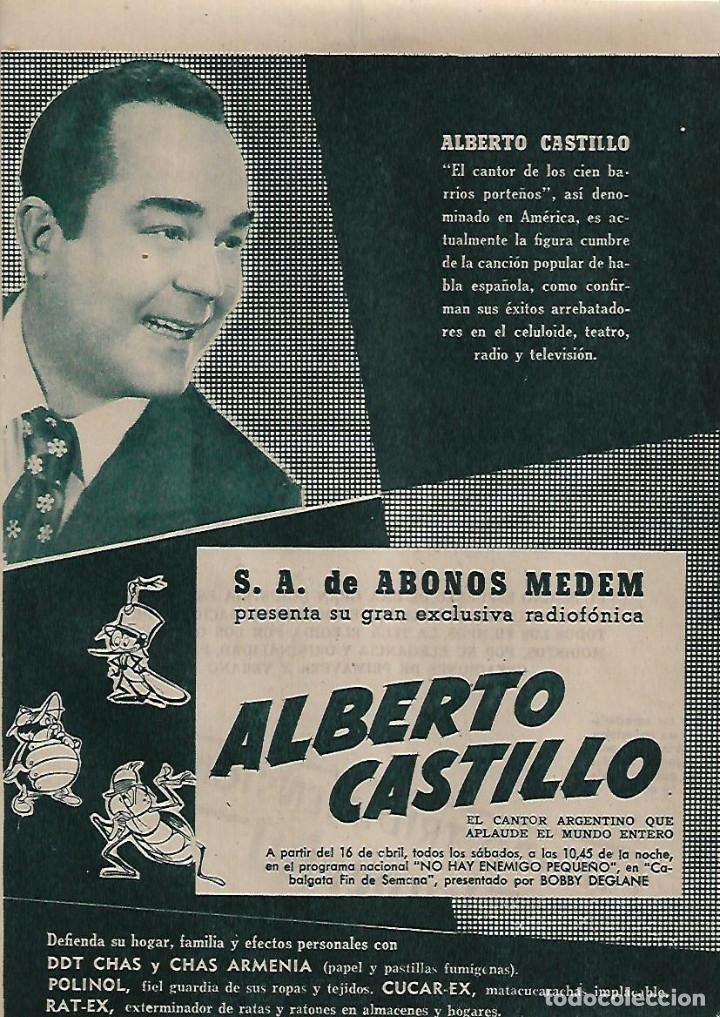AÑO 1955 RECORTE PRENSA PUBLICIDAD ABONOS MEDEM EXCLUSIVA RADIOFONICA ALBERTO CASTILLO (Coleccionismo - Laminas, Programas y Otros Documentos)