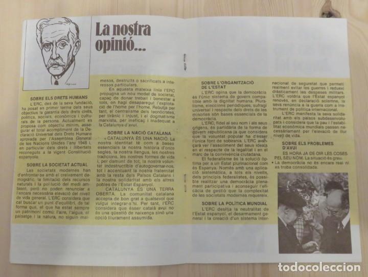 Coleccionismo: Folleto de Esquerra Republicana de Catalunya ERC 1979 - Foto 2 - 156085242