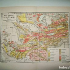 Coleccionismo: LAMINA ESPASA 31801: MAPA GEOLOGICO DEL TURQUESTAN. Lote 156182082