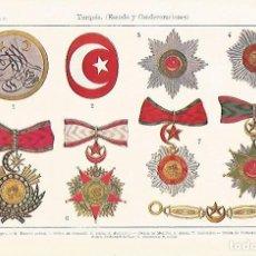 Coleccionismo: LAMINA ESPASA 31806: ESCUDO Y CONDECORACIONES DE TURQUIA. Lote 156184464
