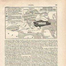 Coleccionismo: LAMINA ESPASA 31808: MAPA DE LA REDUCCION DEL IMPERIO OTOMANO. Lote 156185018
