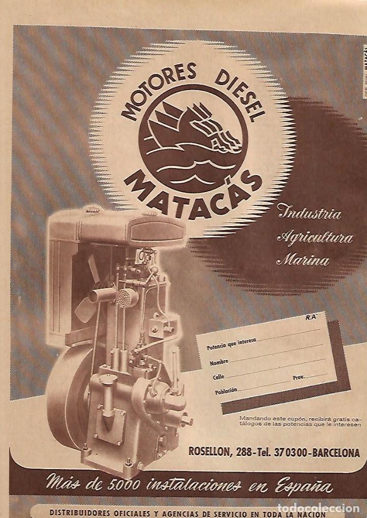 AÑO 1956 RECORTE PRENSA PUBLICIDAD MOTOR MOTORES DIESEL MATACAS (Coleccionismo - Laminas, Programas y Otros Documentos)