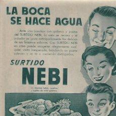 Coleccionismo: AÑO 1956 RECORTE PRENSA PUBLICIDAD SURTIDO NEBI GALLETAS ARTIACH. Lote 156562262