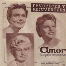 Coleccionismo: AÑO 1956 RECORTE PRENSA PUBLICIDAD GAFAS AMOR INDUSTRIAS DE OPTICA . Lote 156562382