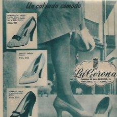 Coleccionismo: AÑO 1956 RECORTE PRENSA PUBLICIDAD CALZADOS LA CORONA ZAPATERIA. Lote 156562602