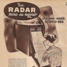 Coleccionismo: AÑO 1956 RECORTE PRENSA PUBLICIDAD RONEO MUEBLES METALICOS PARA OFICINA ASIN SA. Lote 156563410