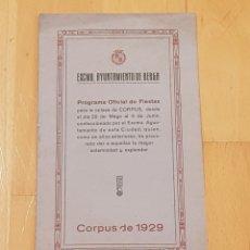 Coleccionismo: BERGA LA PATUM PROGRAMA ORIGINAL AÑO 1929.GRAN ESTADO.. Lote 156563640