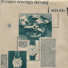 Coleccionismo: AÑO 1956 RECORTE PRENSA PUBLICIDAD RELOJ CYMA. Lote 156563910