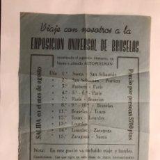 Coleccionismo: SUECA (VALENCIA) FOLLETO VIAJE A LA EXPOSICIÓN UNIVERSAL DE BRUSELAS (A.1958). Lote 156659216