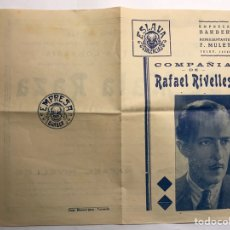 Coleccionismo: VALENCIA ESLAVA. TEATRO DE MALA RAZA. DIPTICO COMPAÑÍA DE RAFAEL RIVELLES (A.1943). Lote 156769488