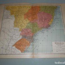 Coleccionismo: ANTIGÜA LÁMINA SALVAT.- BRASIL MAPA PARCIAL - FERROCARRILES Y EN CONSTRUCCIÓN -VÍAS MARÍTIMAS... . Lote 157319714