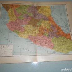 Coleccionismo: ANTIGÜA LÁMINA SALVAT.- DOBLE LÁMINA MÉXICO PARCIAL - FERROCARRILES,CABLES,VÍAS MARÍTIMAS. Lote 157323934