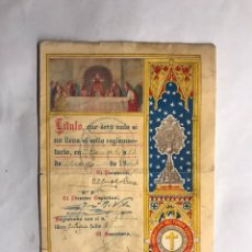 Coleccionismo: VALENCIA. ADORACIÓN NOCTURNA ESPAÑOLA. TÍTULO DE ADORADOR (A.1947). Lote 157701537