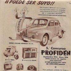 Coleccionismo: AÑO 1956 RECORTE PRENSA PUBLICIDAD CAMPAÑA PROFIDEN DENTIFRICO CONCURSO RENAULT MUÑECA LILI. Lote 157948906