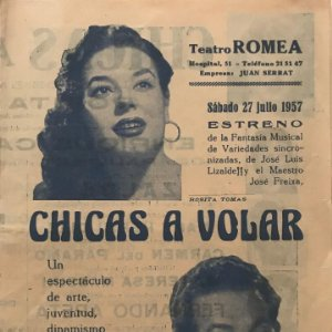 1957 Teatro Romea. Chicas a volar. Rosita Tomas. José Luís Lizalde. José Freixa 15,9x22,2cm