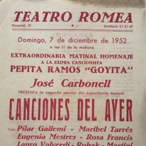 1952 Teatro Romea. Canciones del ayer. José Carbonell 15,8x21,8cm