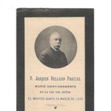 Colecionismo: ESQUELA D. JOAQUÍN DELGADO PASCUAL 1910 (AZUCARERA DE ARAGÓN, AZUCARERA DEL JALÓN). Lote 158801786