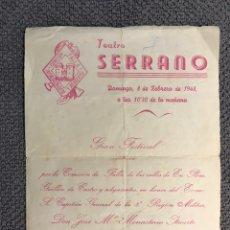 Coleccionismo: TEATRO. FALLA EN PLOM-GUILLEN DE CASTRO. EN HONOR DEL CAPITÁN GENERAL DE LA 3A. REGIÓN MILITAR. Lote 159059209