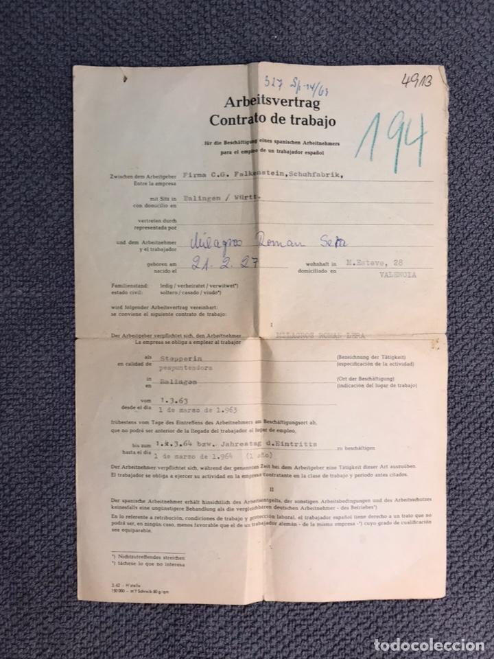 DOCUMENTO ALEMÁN. CURIOSO CONTRATO DE TRABAJO DE CUANDO LOS ESPAÑOLES EMIGRÁBAMOS A EUROPA (A.1963) (Coleccionismo - Laminas, Programas y Otros Documentos)