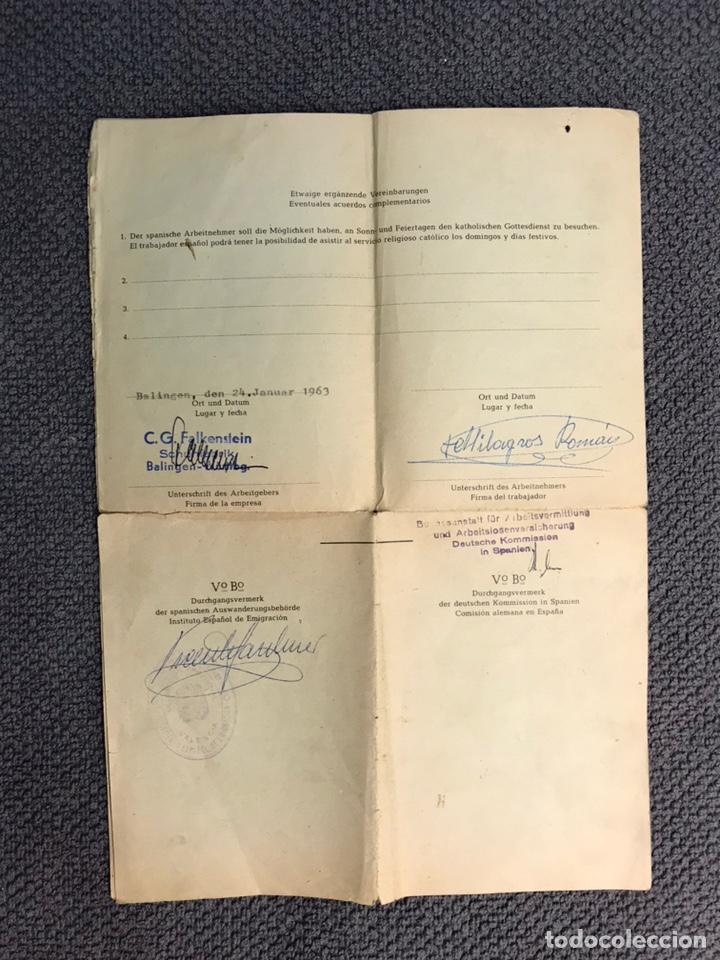 Coleccionismo: DOCUMENTO ALEMÁN. Curioso contrato de trabajo de cuando los españoles emigrábamos a Europa (a.1963) - Foto 3 - 159059372