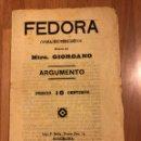 Coleccionismo: ARGUMENTO FEDORA.MAESTRO GIORDANO.. Lote 159155797