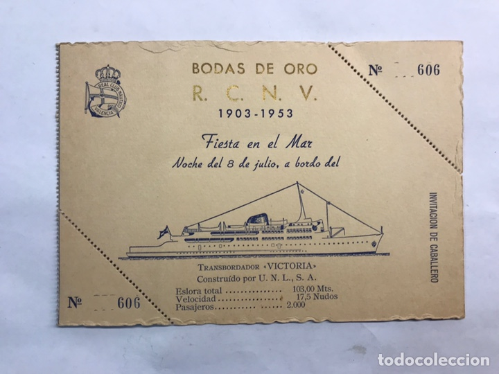 VALENCIA. INVITACIÓN CON MOTIVO DE LAS BODAS DE ORO DEL REAL CLUB NÁUTICO (A.1953) (Coleccionismo - Laminas, Programas y Otros Documentos)
