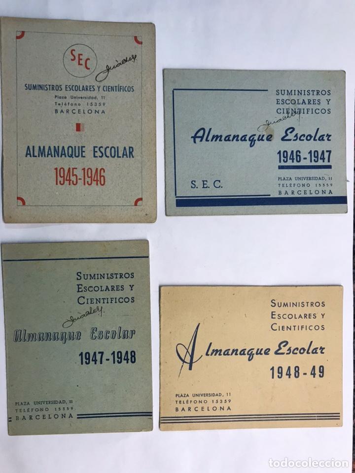 BARCELONA. LOTE DE 4 ALMANAQUES ESCOLARES DE 1945 A 1949 (Coleccionismo - Laminas, Programas y Otros Documentos)