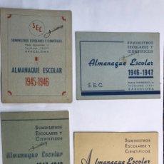 Coleccionismo: BARCELONA. LOTE DE 4 ALMANAQUES ESCOLARES DE 1945 A 1949. Lote 159454654