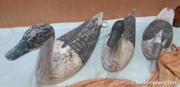 Coleccionismo: Patos señuelo. En madera policromada. Antiguos. Años 60-70 - Foto 2 - 159537222