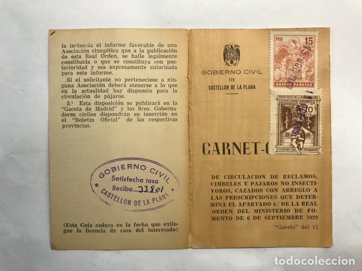 ONDA (CASTELLÓN) CARNET GUÍA DE CIRCULACIÓN DE RECLAMOS CIMBELES Y PÁJAROS... (A.1969) (Coleccionismo - Laminas, Programas y Otros Documentos)