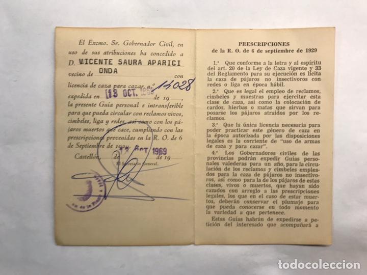 Coleccionismo: ONDA (Castellón) Carnet Guía de circulación de Reclamos Cimbeles y Pájaros... (a.1969) - Foto 2 - 159769013