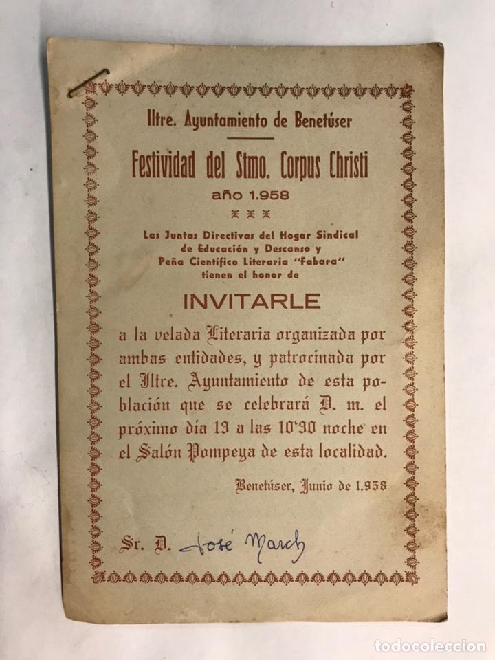 BENETUSER (VALENCIA) INVITACIÓN DEL M.I. AYUNTAMIENTO CON MOTIVO DE LAS FIESTAS DEL CORPUS CHRISTI (Coleccionismo - Laminas, Programas y Otros Documentos)