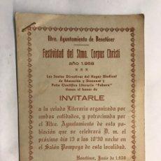 Coleccionismo: BENETUSER (VALENCIA) INVITACIÓN DEL M.I. AYUNTAMIENTO CON MOTIVO DE LAS FIESTAS DEL CORPUS CHRISTI. Lote 159908660