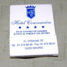 Coleccionismo: CAJA DE CERILLAS DEL HOTEL CONVENCIÓN DE MADRID.. Lote 159954262