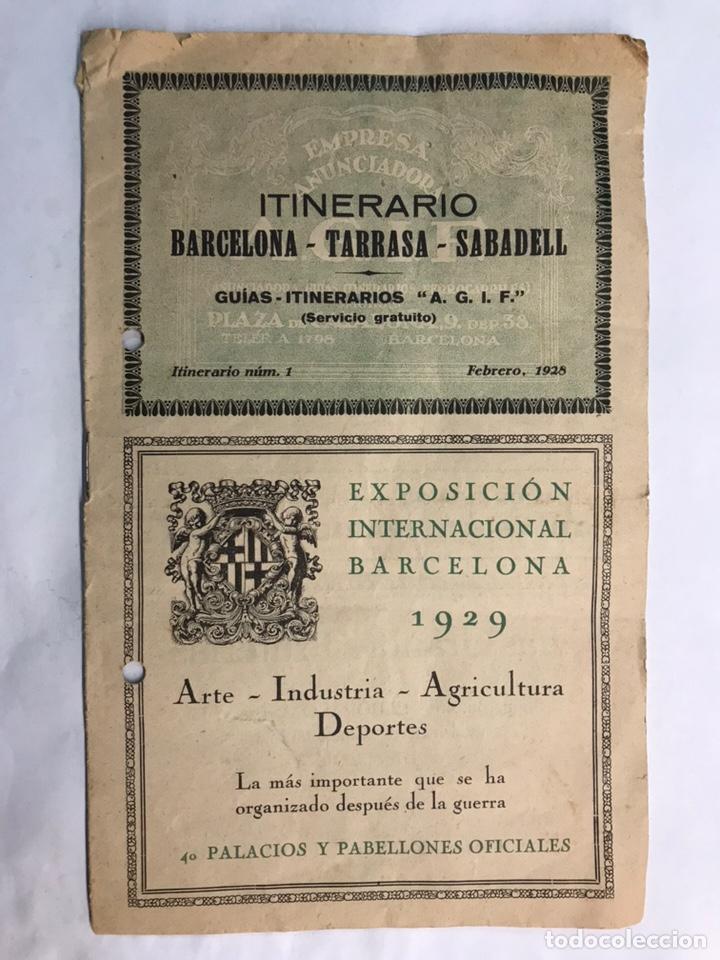 ITINERARIO BARCELONA TARRASA SABADELL. GUÍAS ITINERARIOS AGIF (A.1929) (Coleccionismo - Laminas, Programas y Otros Documentos)