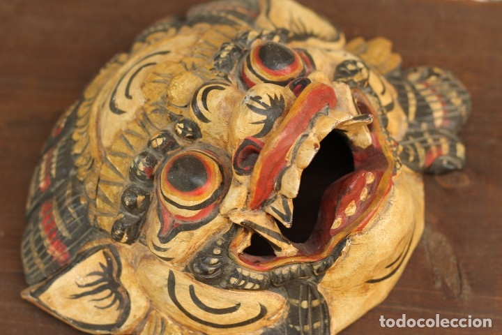 Coleccionismo: Mascara tallada de la India en madera policromada Diosa Tailandesa - Foto 5 - 153550597