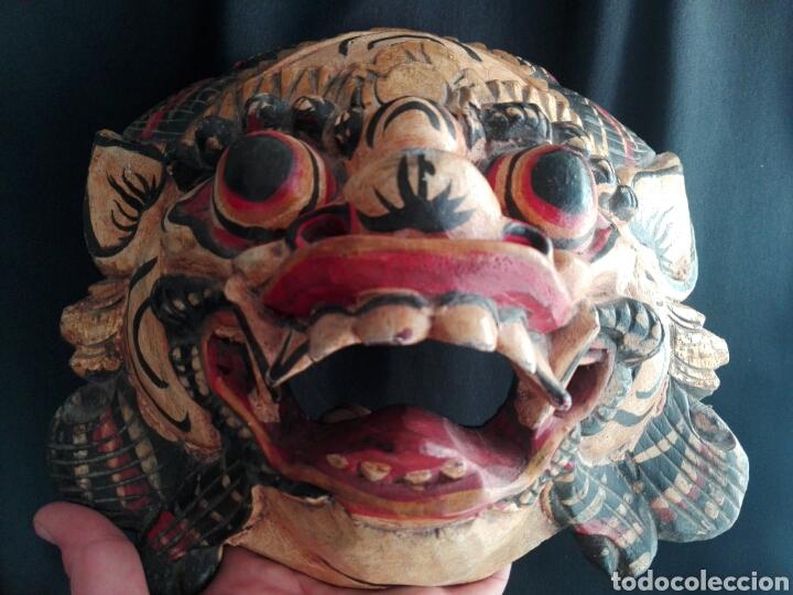 Coleccionismo: Mascara tallada de la India en madera policromada Diosa Tailandesa - Foto 2 - 153550597