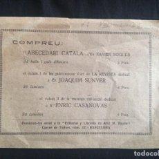 Coleccionismo: HOJA PUBLICITARIA. EDITORIAL Y LIBRERÍA DE ARTE M. BAYÉS. BARCELONA.. Lote 160318822