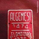 Coleccionismo: ALGEMESÍ (VALENCIA) PLACA DE BICICLETAS. Lote 160581014