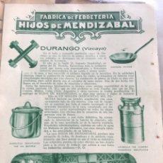 Coleccionismo: ANTIGUO RECORTE DE PRENSA ORIGINAL. HIJOS DE MENDIAZABAL, DURANGO. Lote 160799317