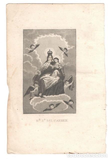 GRABADO:NUESTRA SEÑORA DEL CARMEN. 11X16'5 (Coleccionismo - Laminas, Programas y Otros Documentos)