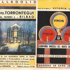 Coleccionismo: ÑO 1938 GUERRA CIVIL PUBLICIDAD HOTEL TORRONTEGUI BILBAO VINO COMPAÑIA VINICOLA DEL NORTE HARO RIOJA. Lote 160999038