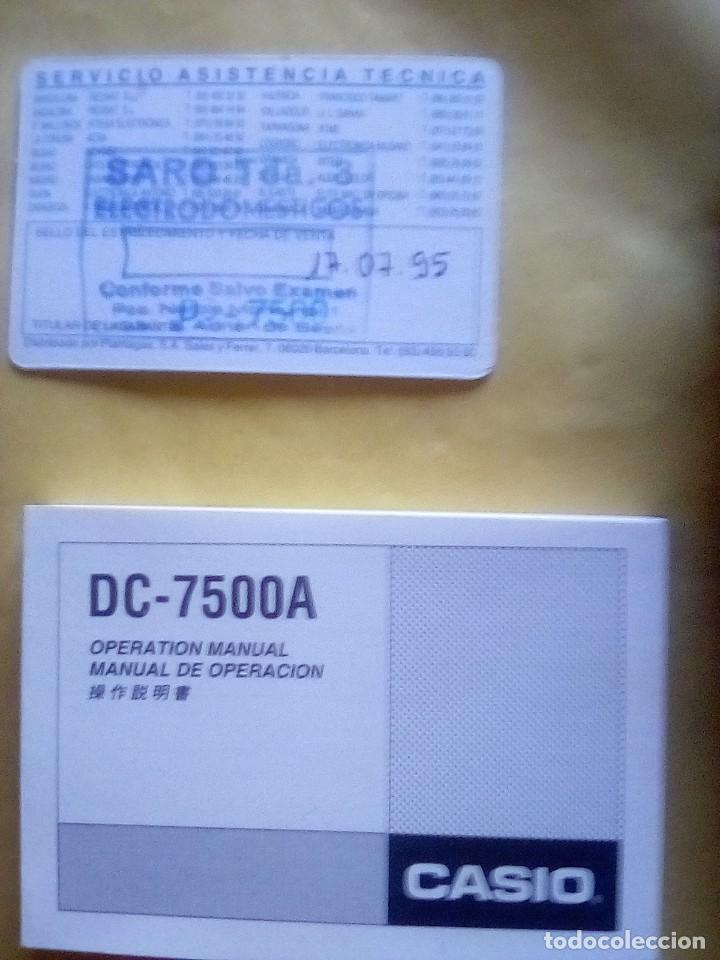 Coleccionismo: VESIV CALCULADORA CASIO DATA BANK DC 7500 A FUNCIONA - Foto 5 - 161037030
