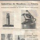 Coleccionismo: EXTINTORES ESPAÑA DE INDUSTRIAS DE MENDOZA, S.A. DE VITORIA. AÑO 1940 CON NOTA DEL B.O.E. PUBLICIDAD. Lote 161178886