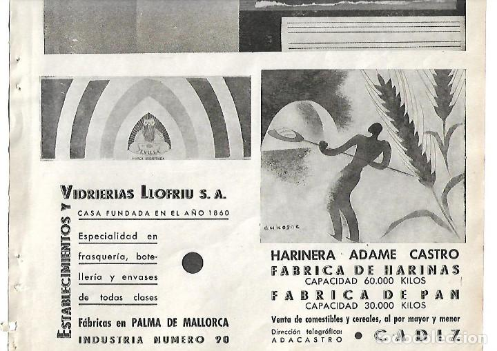 AÑO 1938 GUERRA CIVIL PUBLICIDAD VIDRIERAS LLOFRIU PALMA DE MALLORCA HARINERA ADAME CASTRO CADIZ (Coleccionismo - Laminas, Programas y Otros Documentos)