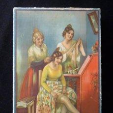 Coleccionismo: ANTIGUA Y BONITA CAJA DE MADIAS. CARTÓN LITOGRAFIADO. FALLERAS VALENCIA. 26,5X17X4,5 CM. AÑOS 20-30. Lote 161330766