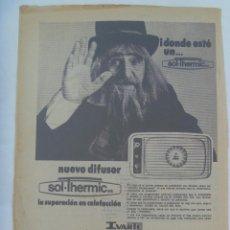 Coleccionismo: HOJA DE PERIODICO CON FOTO DE DON CICUTA ( DEL UN, DOS, TRES ) PUBLICIDAD DE IVARTE, AÑOS 70. Lote 194219766