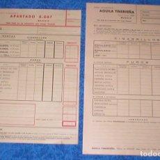 Coleccionismo: LOTE 16 PAPELES PUBLICIDAD ORIGINAL AÑOS 1960S HOJAS PEDIDO TABACO AGUILA TINERFEÑA 2 MODELOS DIFER.. Lote 157865786