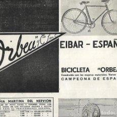 Coleccionismo: AÑO 1938 GUERRA CIVIL PUBLICIDAD BICICLETAS ORBEA Y COMPAÑIA EIBAR. Lote 161690162
