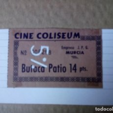 Coleccionismo: ENTRADA DE CINE, CINE COLISEUM, EMPRESA JOG MURCIA, BUTACA DE PATIO . Lote 161930446